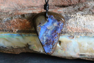 Blue Arrowhead Boulder Opal Necklace