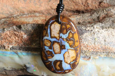 Large Boulder Opal Necklace on Leather