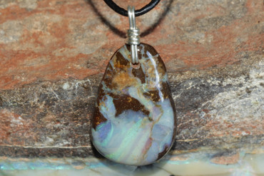 Gorgeous Blue Green Boulder Opal Pendant