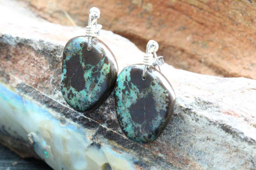 Boulder Opal Earrings | Green | Natural