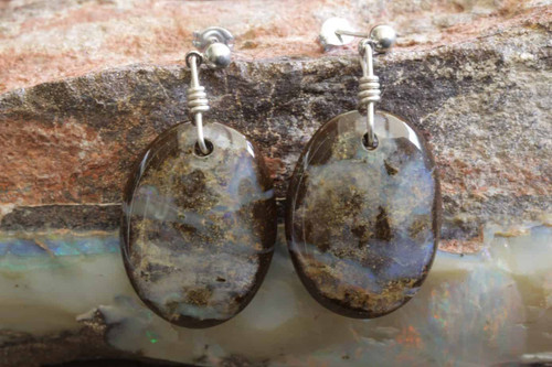 Blue Boulder Opal Earrings