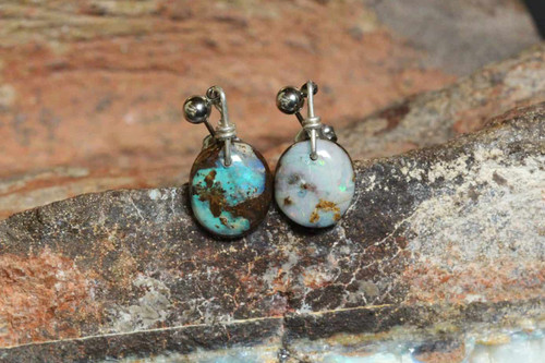 Small round green opal earrings