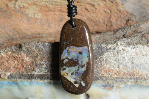 Earth Stone Boulder Opal Necklace