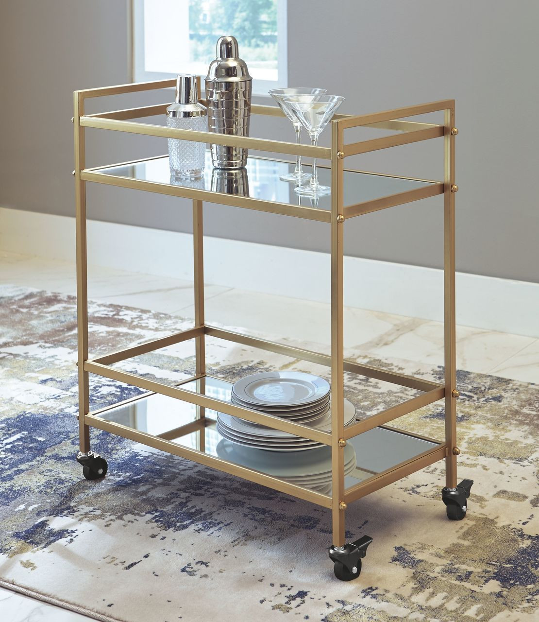 The Kailman Gold Finish Bar Cart Available At Acf Wholesale Serving Columbus Ms