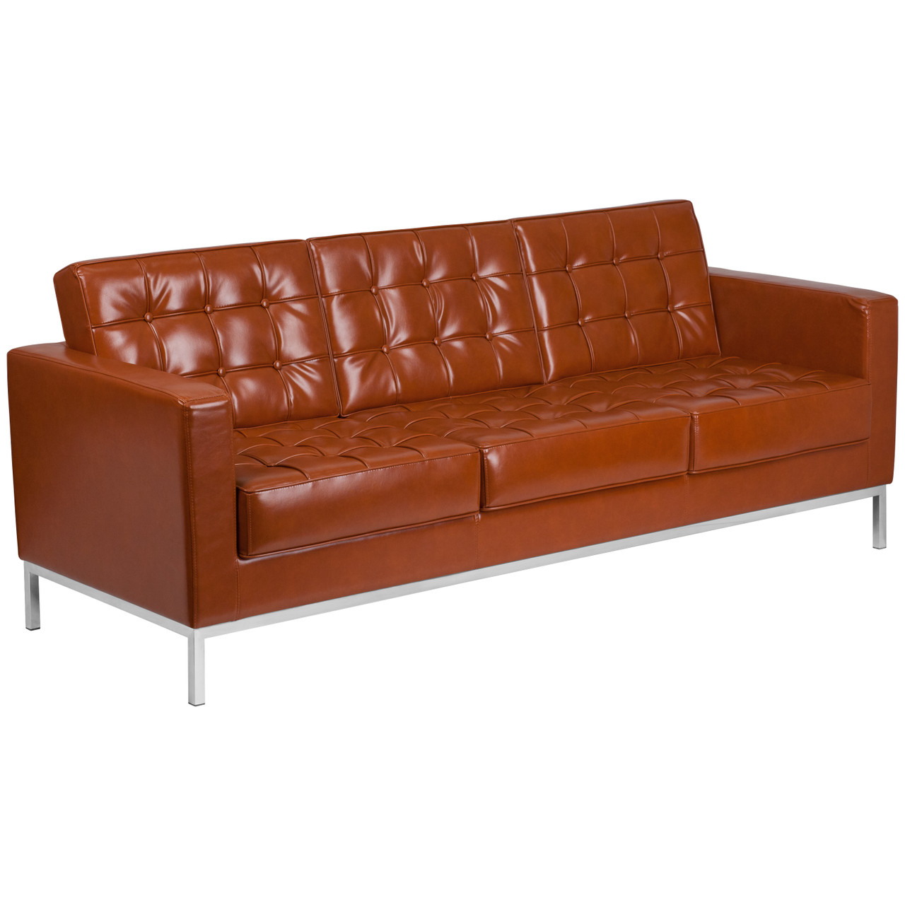Contemporary Button Tufted Cognac Leather Sofa with Integrated Stainless  Steel Frame