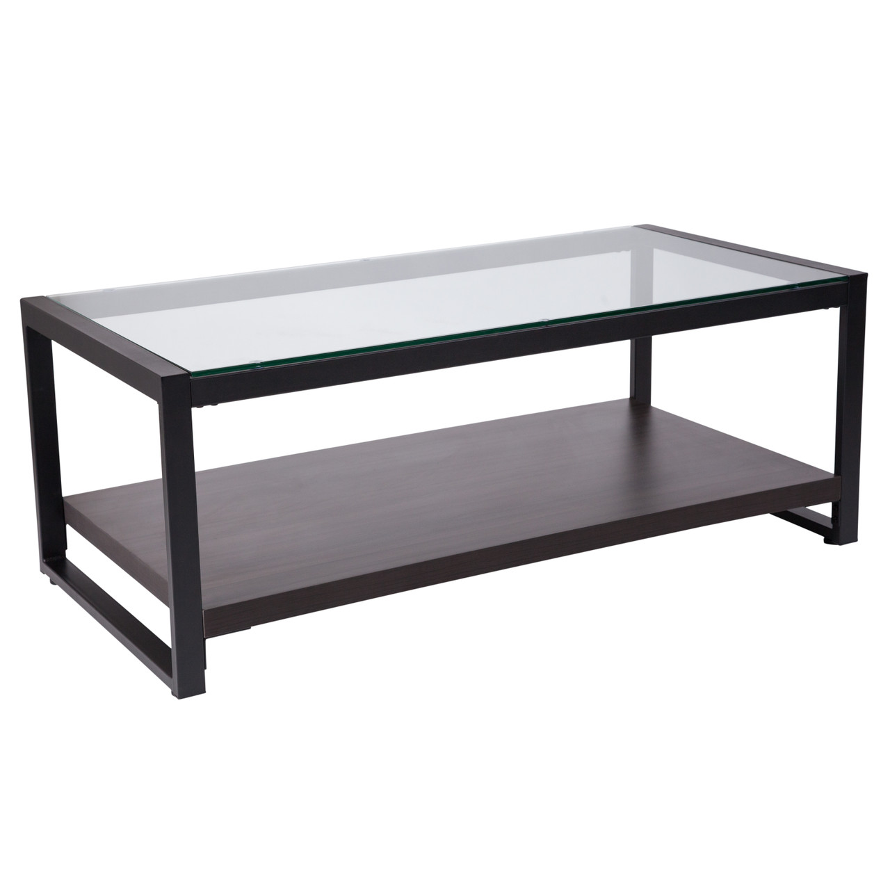 - The Glass Coffee Table With Wood Grain Raised Shelf And Black