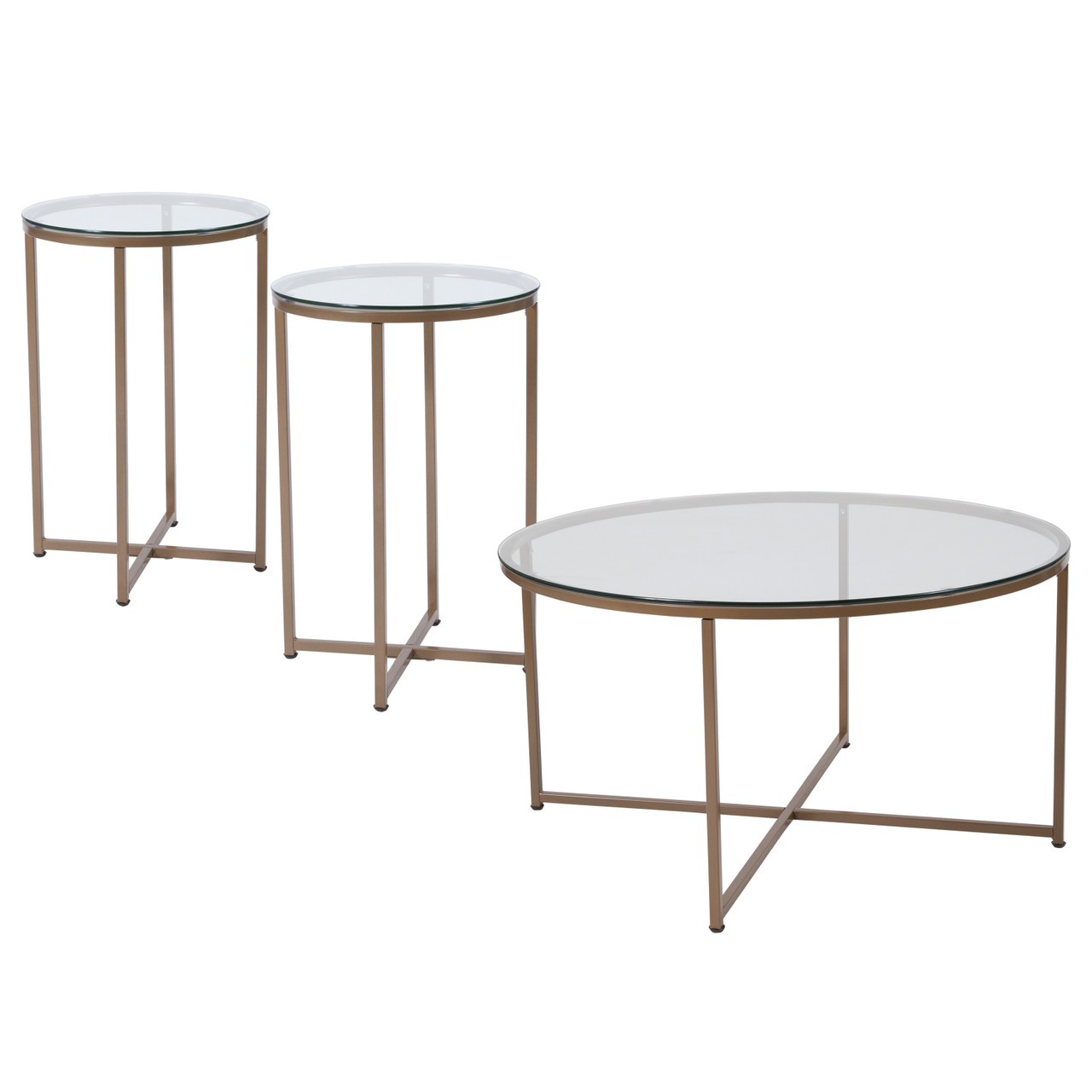 - The 3 Piece Round Coffee And End Table Set With Glass Tops And