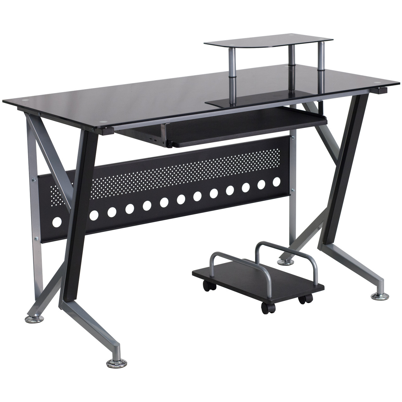 The Black Glass Computer Desk With Pull Out Keyboard Tray And Cpu Cart Available At Acf Wholesale Serving Columbus Ms