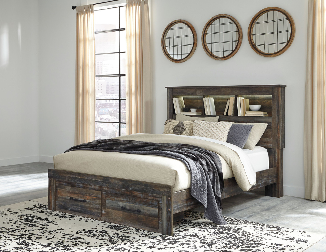 Picture of: The Drystan Multi Queen Bookcase Storage Bed Available At Acf Wholesale Serving Columbus Ms