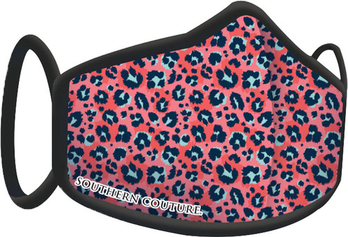 Southern Couture Coral Leopard Face Mask By Couture Tee  Company