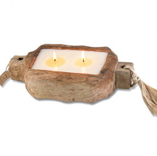 Tobacco Bark 24 oz. Driftwood Tray Candle by Himalayan Candles