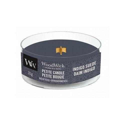 Indigo Suede WoodWick Petite Candle
