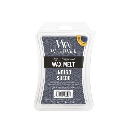 Indigo Suede 3 oz. WoodWick Hourglass Wax Melt