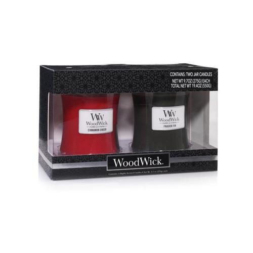 Frasier Fir & Cinnamon Chai Medium Hourglass Jar Gift Set by WoodWick Candles