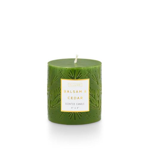Balsam & Cedar 3x3 Small Etched Pillar Illume Candle
