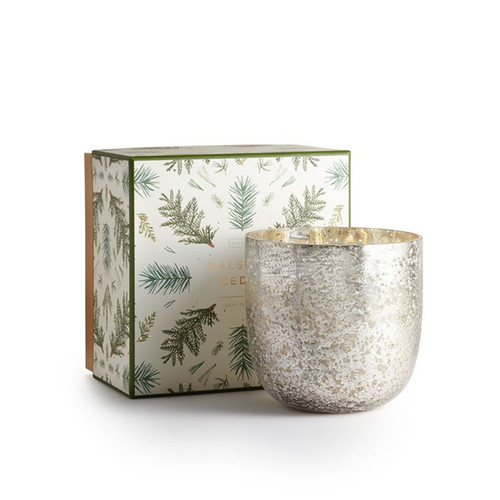 Balsam & Cedar Luxe Sanded Mercury Glass Illume Candle 1