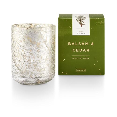 Balsam & Cedar Small Luxe Sanded Mercury Glass Illume Candle