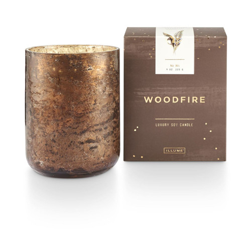 Woodfire Small Luxe Sanded Mercury Glass Illume Candle