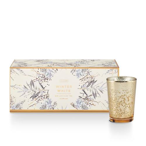 Winter White Mini Luxe Sanded Mercury Glass Trio Illume Candle