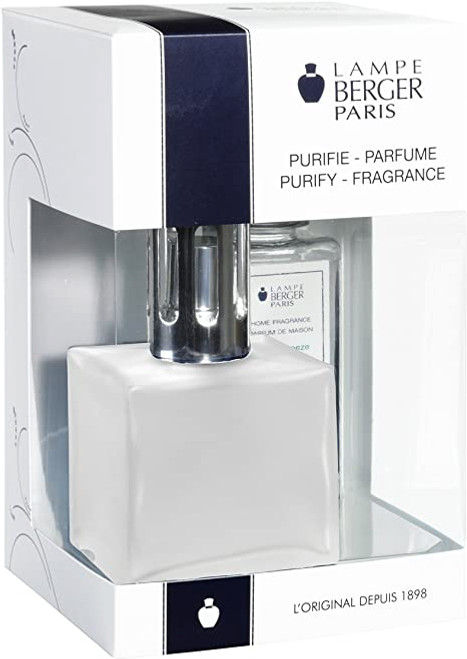 Cube Frosted Lamp Gift Set with 180 ml (6.08 oz.) Ocean Breeze Fragrance Oil - Lampe Berger by Maiso