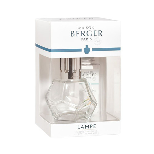 Geometry Clear Lamp Gift Set with 180 ml (6.08 oz.) Zest of Verbena Fragrance Oil - Lampe Berger by