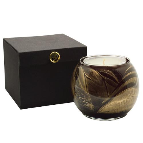 "4"" Ebony Esque Globe Candle with Glass Insert"