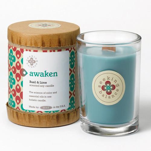 Awaken (Basil & Lime) Seeking Balance 6.5 oz. Candle by Root