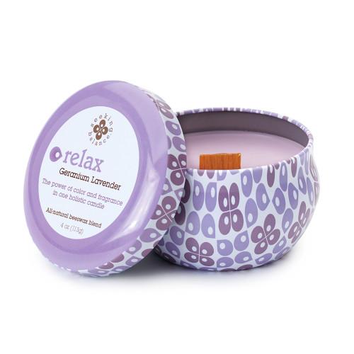 Relax (Geranium Lavender) 4 oz. Seeking Balance Spa Traveler Tin by Root