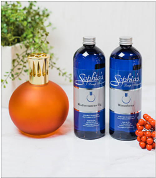 Frosted Red Globe Fragrance Lamp with Mediterranean Fig and Winterberry Fragrance Oil by Sophia's