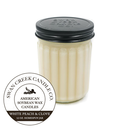 White Peach & Clove 12 oz. Homespun Jar Swan Creek Candle