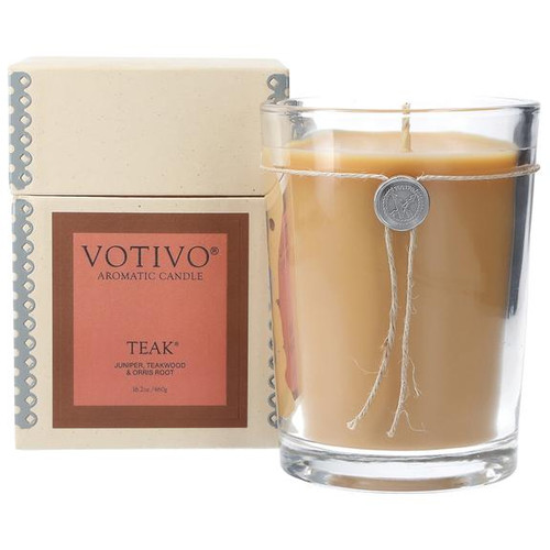 Teak Large Glass Candle Votivo Candle