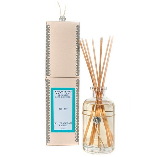 White Ocean Sands Aromatic Reed Diffuser Votivo Candle