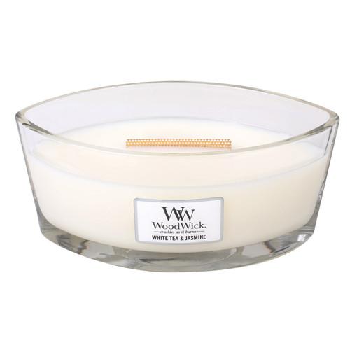 White Tea & Jasmine WoodWick Candle 16 oz. HearthWick Flame