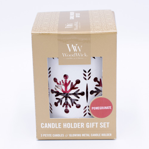White Snowflake w/ Pomegranate Petite Gift Set WoodWick Candle