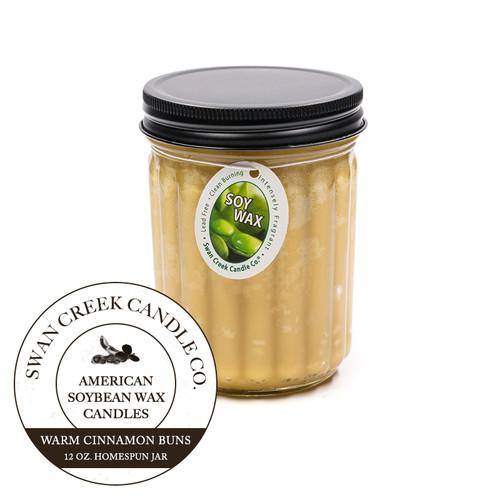 Warm Cinnamon Buns 12 oz. Homespun Jar Swan Creek Candle