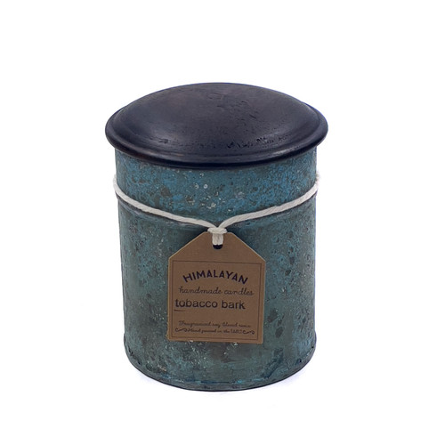 Tobacco Bark 10 oz. Blue Spice Tin Candle by Himalayan Candles