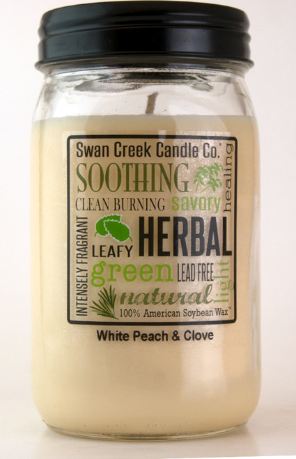 White Peach & Clove 24 oz. Swan Creek Kitchen Pantry Jar Candle
