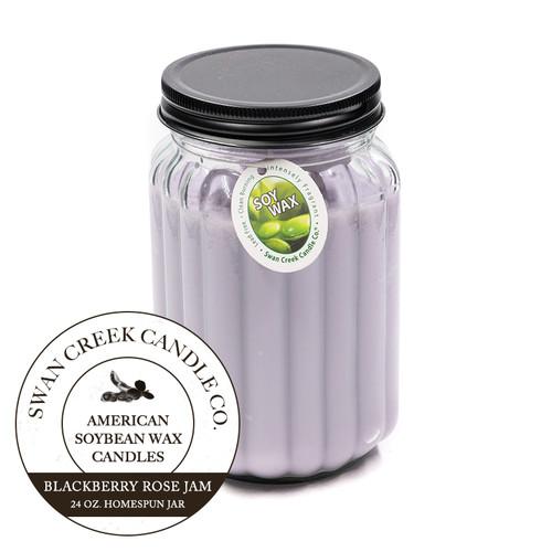 Blackberry Rose Jam 24 oz. Homespun Jar Swan Creek Candle