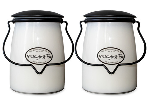 Lemongrass Tea 2-Pack 22 oz. Butter Jar Candles by Milkhouse Candle Creamery