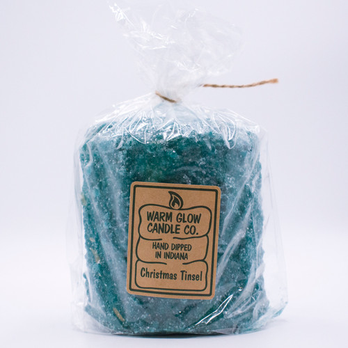 Christmas Tinsel Hearth Candle by Warm Glow Candles