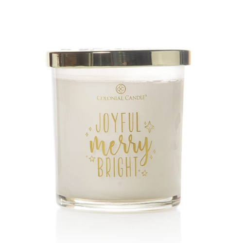 Joyful Merry Bright 10 oz. Holiday Expressions Trend Collection Colonial Candle