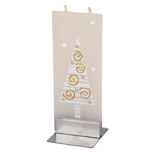 White Christmas Tree Gold Swirls Decorative Flat Candle by Flatyz Candles