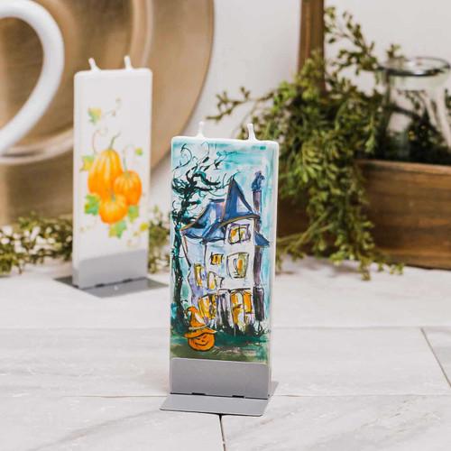 Haunted House with Jack-O-Lantern Decorative Flat Candle by Flatyz Candles