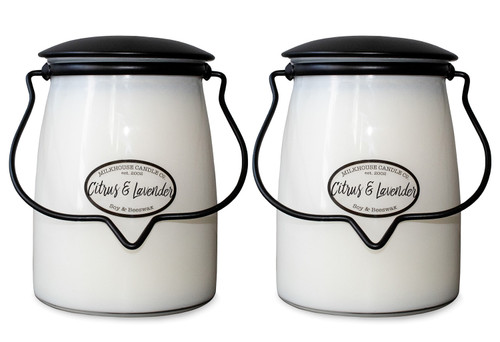 Citrus & Lavender 2-Pack 22 oz. Butter Jar Candles by Milkhouse Candle Creamery