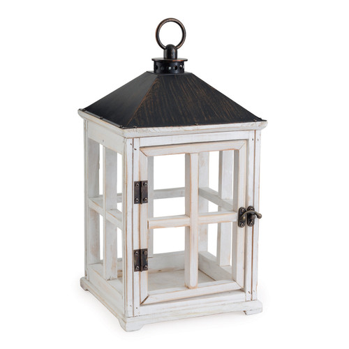 Weathered White Wooden Candle Warmer  Lantern