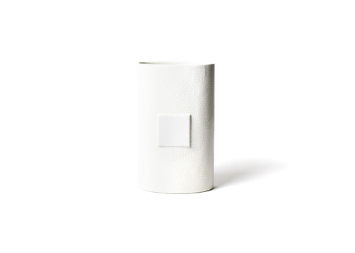 White Small Dot Big Oval Vase by Happy Everything!