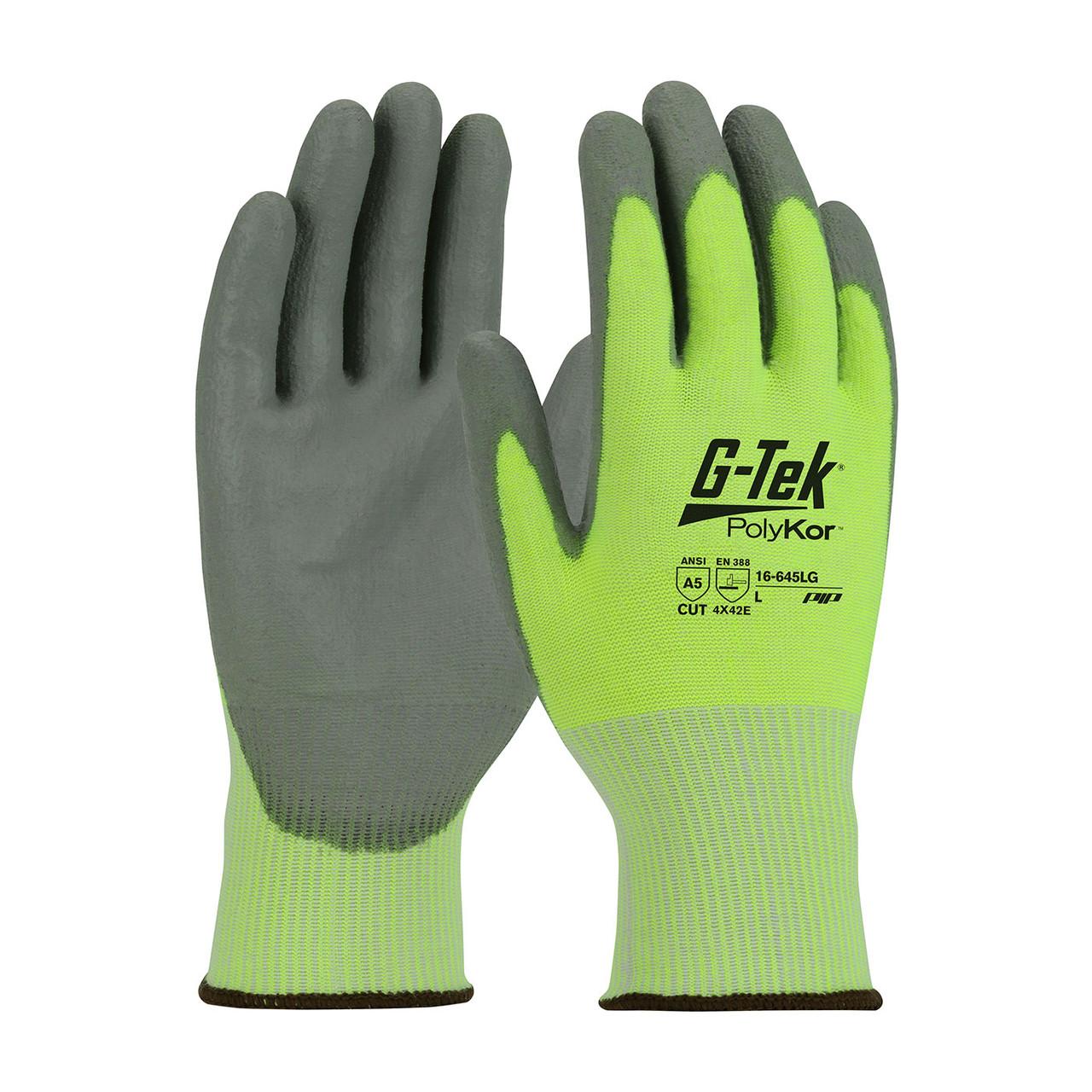Hi-Vis Yellow M G-Tek PolyKor, HV Lime Green 13G Shell, Gray Polyurethane  Grip, A5 Gloves with PolyKor Fiber 1 Dozen 16-645LG/M