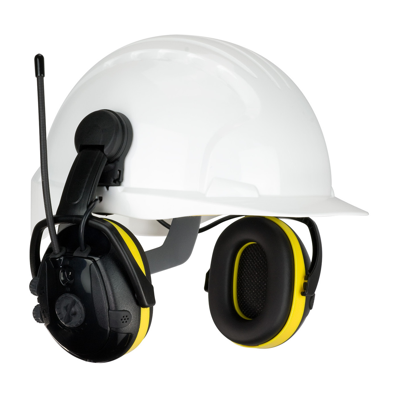 Yellow OS Hellberg Secure React with AM/FM & Level Dependent, 23 dB NRR,  Yellow Helmet Mount 1 Pair 264-46102