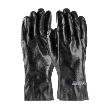 Black MENS ProCoat, Supported PVC, Interlock Lined, Blk., Rough Finish, 12 Inch Coated Supported Gloves 1 Dozen