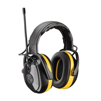 Yellow OS Hellberg Secure Relax with AM/FM Radio, 24 dB NRR, Yellow/Black Headband 1 Pair